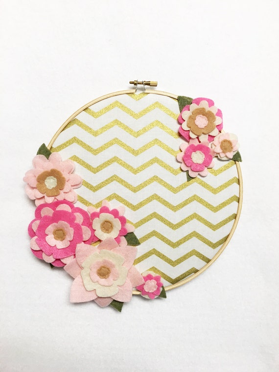 Flower Wall Art, Embroidery Hoop Art, Delicate Gold, Nursery Decoration, Floral Wall Decor, Hoop Wall Hanging, Felt Flower Hoop