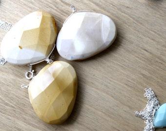 Large Gemstone Pendant Necklace . Mooakite Necklace . Natural Stone Necklace . Australian Jasper Necklace - Amery Collection