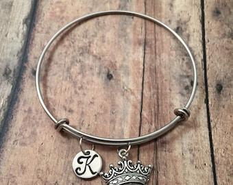 Crown initial bangle- princess crown bracelet, crown bangle, pageant bracelet, crown jewelry, princess jewelry, pageant jewelry