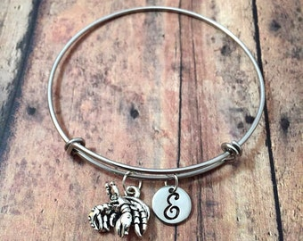 Hermit crab initial bangle - hermit crab jewelry, beach bracelet, beach jewelry, ocean jewelry, silver crab bangle, pet hermit crab bangle