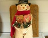 Primitive snowman prim Christmas decoration