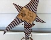 Primitive Star nodder make do vintage ticking fabric