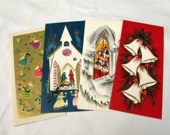 Vintage Christmas Cards - Set of 4 (D)