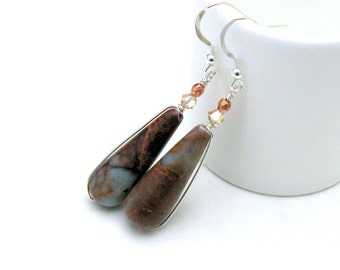Kanawaba Jasper Sterling Silver Dangle Earrings, Earthy Aqua Rust Jasper Teardrop Earrings, For Her Under 70