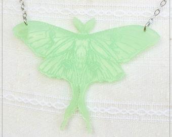 Luna Moth, translucent soft jade acrylic - double engraved