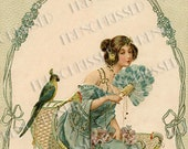 Exotic Lady in Turquoise with Feather Fan and Parrot Art Nouveau Postcard Digital Printable
