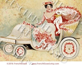 Easter Rabbit with Monocle  Victorian Jalopy Altered French Fantasy Postcard Digital Printable