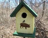 Rustic Wooden Country Primitive Birdhouse Chickadee Wren Songbird Yellow Green Rusty Handmade  Hanging Birdhouse Pig