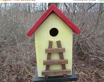 SUMMER SALE Birdhouse Handmade Wood Ladder Primitive Yellow Red