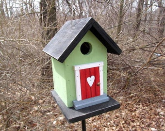 Primitive Birdhouse Black Lime Green Cozy Home Wrens Chickadees Finches
