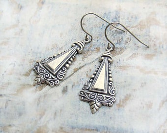 Small silver earrings Ornate triangle earrings Art Nouveau jewelry