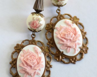 Cottage Chic Rose Earrings, Romantic Earrings, Pink Rose Cameo Earrings, Vintage Style Earrings, Shabby Roses, Vintage Japanese Decal Beads