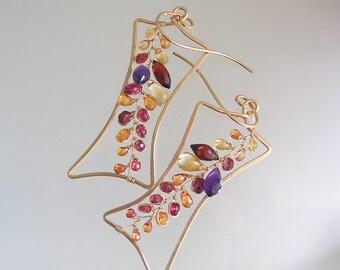 Garnet and Citrine Sculptural 14k Gold Filled Earrings, Lightweight Rectangular Dangles with Gemstone Vines