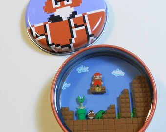 Super Mario Bros candy tin Diorama resin polymer clay nintendo sculpey videogame nes retro gaming blooper goomba piranha plant