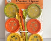 1970's Coaster and Ice Tea Spoon Set - New Old Stock - Groovy Orange Olive and Yellow Plastic - Travel Souvenir