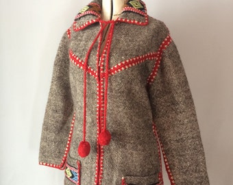 Bohemian Wool Ethnic Jacket Greece Made Tassel