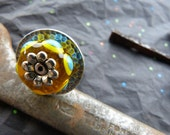Stainless Steel Ring with Riveted on Lampwork Glass in Yellow and Turquoise