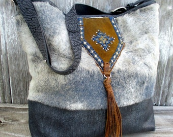Leather Cross Body Bag with Shearling and Antique Indian Beads by Stacy Leigh