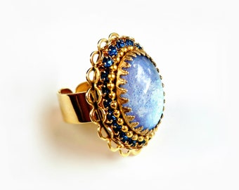 Oval Cocktail Ring with Swarovski Sapphire Crystal and Blue Glass Opal