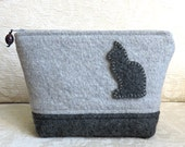 Gray Cat Zip Pouch, Eco Friendly, Upcycled Felted Sweater Wool Clutch
