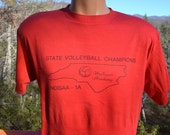 vintage 80s t-shirt VOLLEYBALL high school state champions ann tee Large XL red soft