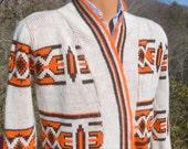 vintage 70s cowichan sweater wrap lebowski cardigan Small XS native tribal ethnic geometric