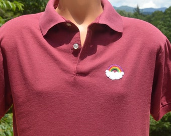 vintage 80s golf shirt polo RAINBOW maroon hawaii preppy Large Medium