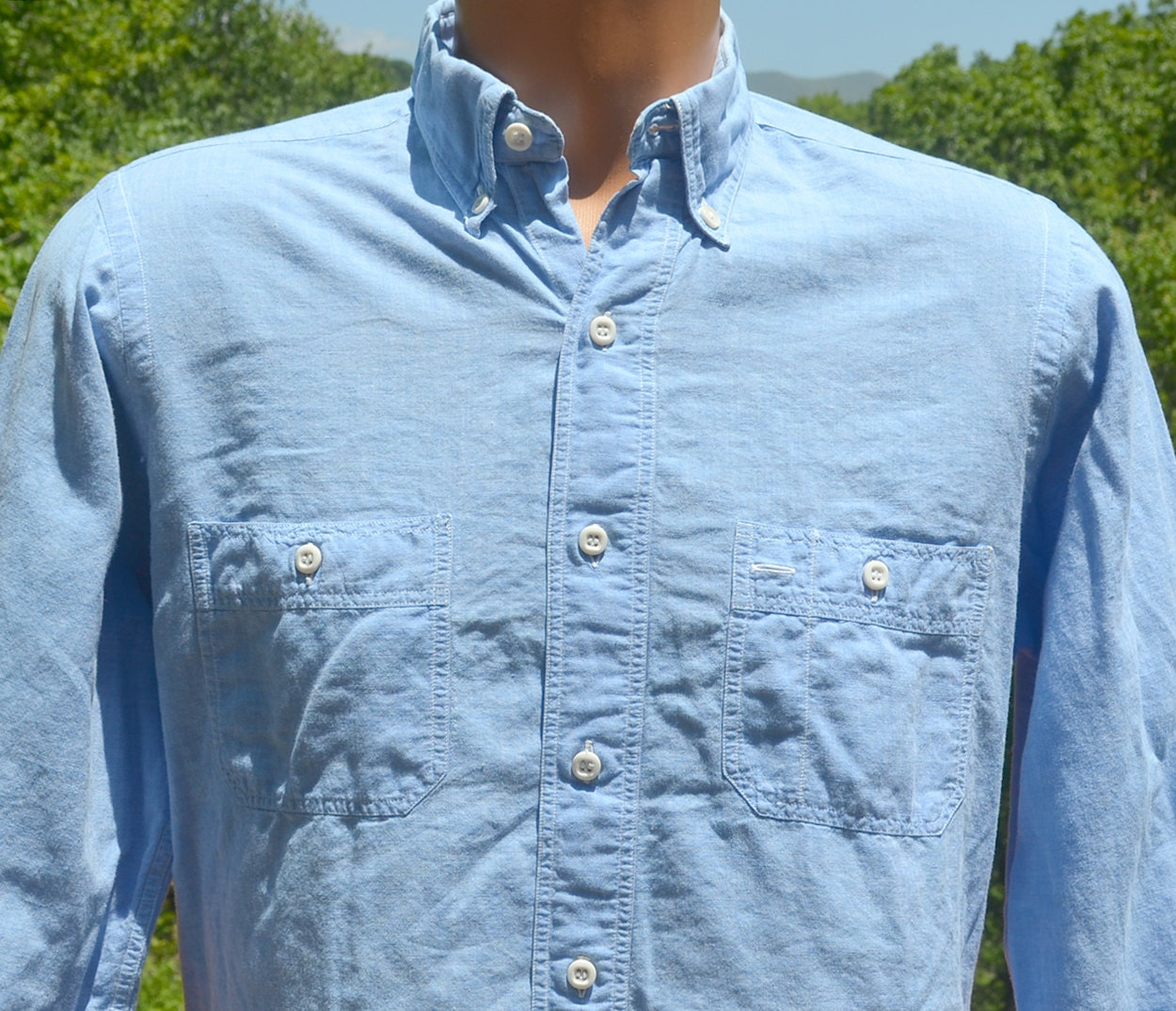 Vintage 70s Madras Shirt Chambray Button Down Preppy Light