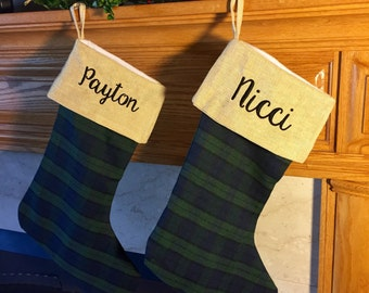 Personalized Navy and Hunter Green Plaid Christmas Stocking - Personalize Christmas stocking - Blackwatch plaid - family Christmas stockings