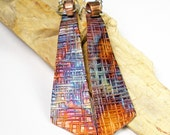 RESERVED For Cindy, Hammered Copper Dangle Earrings, Rustic Colorful Heat Patina, Forged Silver and Copper Earrings, Angular Shape- Fandango