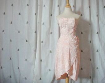 Vintage Pretty in Pink and White Strapless Dress, Floral, Sweetheart Bustier, Cotton, Cocktail, Party, Joni Blair, Size 11, Small Medium