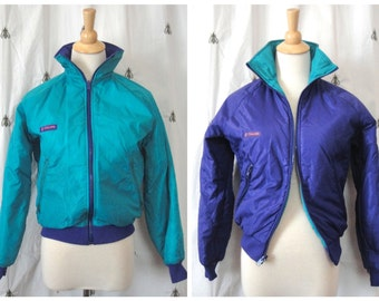 Vintage Columbia Reversible Ski Jacket, Women, Teal and Purple, Size Small, Nylon Outerwear, Thinsulate