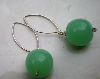 Sterling Silver Marquis Earrings with Mint Green Murano Glass Beads