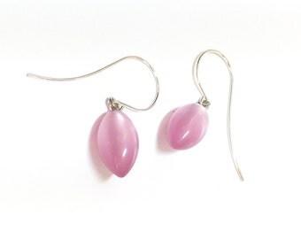 Pink Pod Drops | Dusty Rose Small Pod Drop Earrings in Moonglow Vintage Lucite Earrings