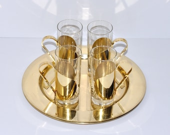 Mid Century Lars Knudsen Denmark Brass & Glass Irish Coffee Mugs and