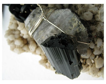 Black Tourmaline On Smoky Quartz Plate - Shelf Specimen - Raw Jewelry