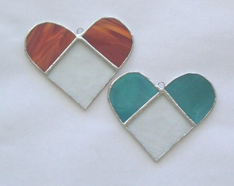 2-toned heart pair red and aqua hearts classic heart decorations