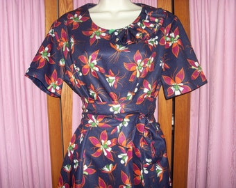 Upcycled Vintage Floral Print Tunic Top or Mini Dress with Belt Size M/L