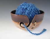 Ceramic Pottery Knitting Bowl / Yarn Bowl in Brown Amber and Beige