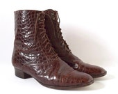 FLASH SALE / 20% off Vintage 80s 90s Kenneth Cole Whiskey Brown Crocodile Leather Lace Up Granny Boots (size 8.5)