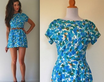 ON SALE / 40% off Vintage 50s 60s Blue Floral Mini Dress (size small, medium)