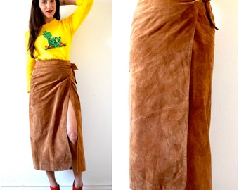Vintage 80s 90s Brown Suede High Waisted Wrap Around Pencil Skirt (size small, medium)