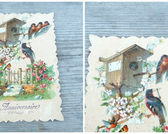 Vintage Antique  1900/1910 French die cut glittered postcard  Happy Birthday / rouge gorge/birds/sparrows