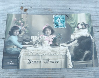 Vintage Antique old French 1900 postcard / dog & children  at table / dog wearring a towel/ greetings / Bonne année