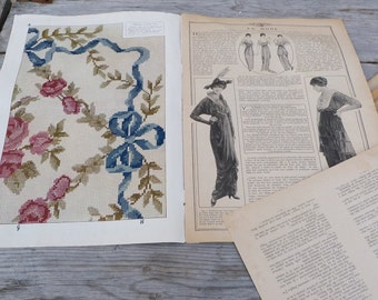 Antique French La mode Pratique Issue Magazine 21 of february 1914
