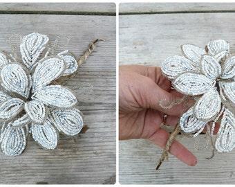 Vintage Antique 1900/1920 French mat white glass beads & cristal  beaded flower /French beadwork