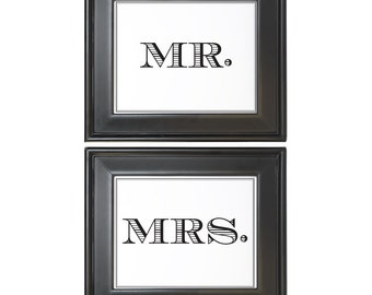 Uptown Mr. and Mrs. Sign Printable DIY Digital File PDF Wedding Reception Sign 4x6 5x7 and 8x10 Simple Masculine