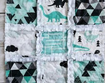 Dinosaur Minky Rag Quilt Lovey - Turquoise, Gray, Black - Baby Boy Gift - Stroller Blanket - Mini Quilt - Car Seat Quilt