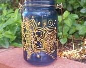 Mason Jar Candle Holder with Henna Design