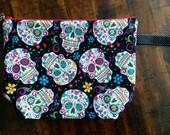 sugar skull zippered project bag